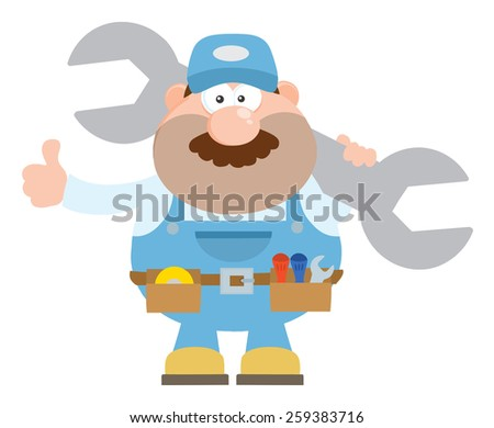 Mechanic Cartoon Character Holding Huge Wrench And Giving A Thumb Up Flat Style. Raster Illustration Isolated On White - stock photo