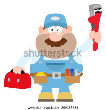 Mechanic Cartoon Character With Wrench And Tool Box Flat Style. Raster Illustration Isolated On White - stock photo