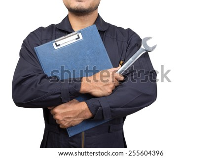 mechanic holding a clipboard of service order with wrench isolated on white background with clipping path  - stock photo