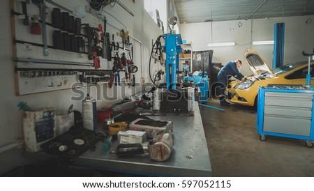 High Quality Mechanic Garage Car Preparing Repairing Wide Stock Photo (Royalty Free)  597052115   Shutterstock
