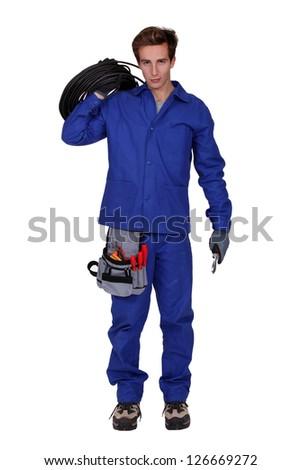 Mechanic isolated on white background - stock photo