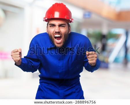 mechanic man shouting - stock photo