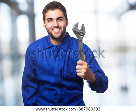 mechanic man with wrench