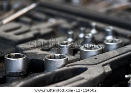 Mechanic socket detail - stock photo