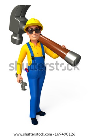 Mechanic with hammer