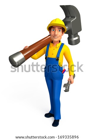 Mechanic with hammer wrench