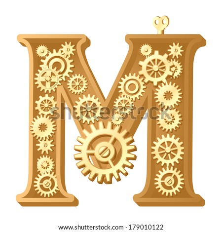 Mechanical alphabet made from gears. Letter m. Raster version - stock photo