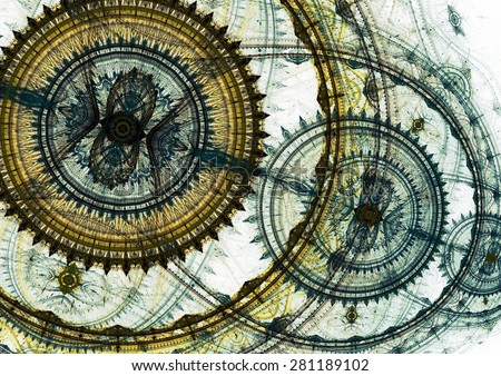 Mechanical background, steampunk abstract - stock photo