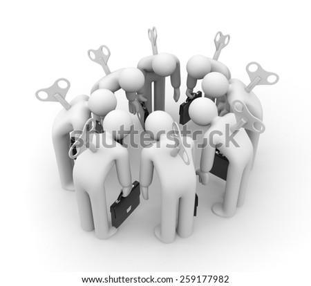 Mechanical businessmen - stock photo