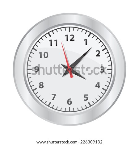 Mechanical clock on white background - stock photo