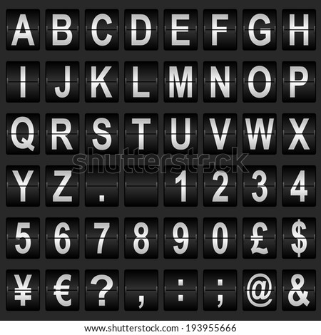 Mechanical departure board letters and numbers. Flip over display font  - stock photo
