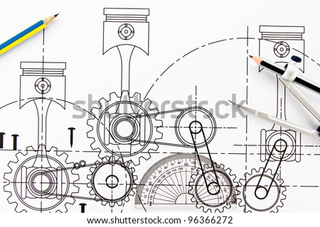 mechanical drawing and drawing instruments. - stock photo