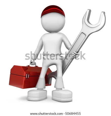 Mechanical engineer. 3d image isolated on white background. - stock photo