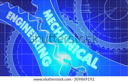 Mechanical Engineering on Blueprint of Cogs. Technical Drawing Style. 3d illustration with Glow Effect. - stock photo
