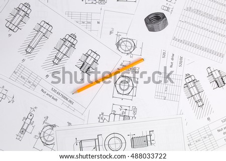 Mechanical Engineering Technology. Pencil on paper drawings of bolts and nuts.