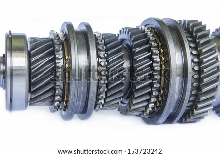 mechanical gear on isolated background - stock photo
