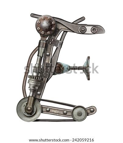 Mechanical metal alphabet letter E - stock photo