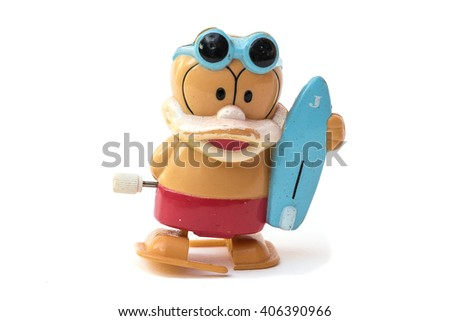 Mechanical Old man toy, full body isolated on white - stock photo