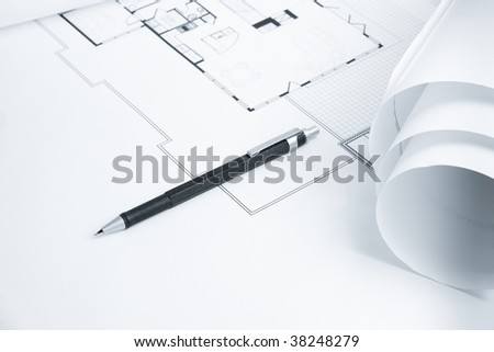 Mechanical Pencil on Blue Print - stock photo