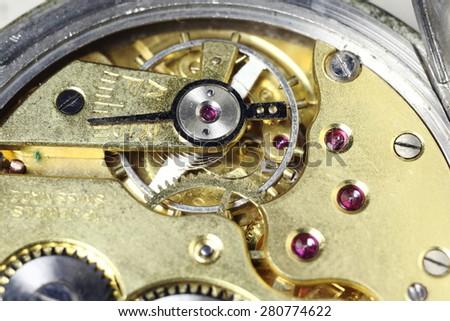 mechanical pocket watch old clocks  - stock photo