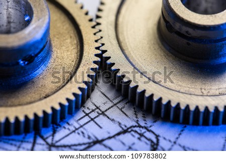 Mechanical ratchets and drafting - stock photo