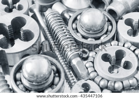 Mechanical ratchets closeup, Metal Gears Background. Industrial tools concept - stock photo