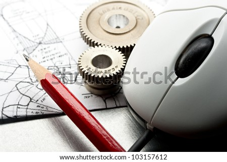 Mechanical ratchets, drafting and mouse - stock photo