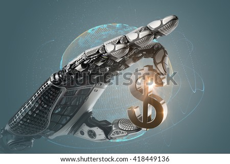 Mechanical robotic arm holding currency symbol of dollar with fingers. Image futuristic template on digital background for business website design.3d rendered image. - stock photo