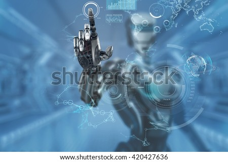 Mechanical robotic arm touching virtual hud screen interface. A robot in futuristic designed environment. 3d rendered image. - stock photo