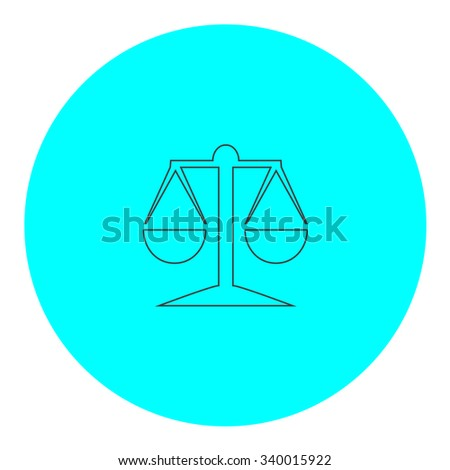 Mechanical scales. Black outline flat symbol on blue circle. Simple illustration pictograh on white background - stock photo