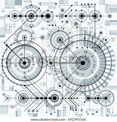 Mechanical scheme, engineering drawing with geometric parts of mechanism. Futuristic industrial project can be used in web design and as wallpaper.