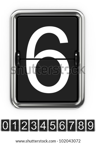 Mechanical Scoreboard Numbers Isolated on White