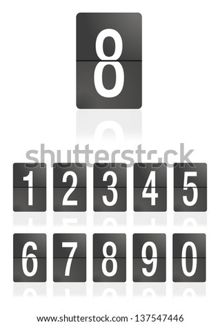 Mechanical scoreboard numbers on a white background. Number 8