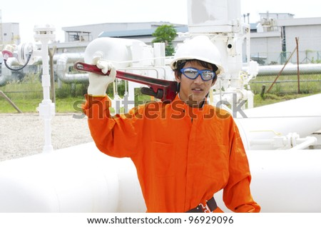 Mechanical worker ready to work.