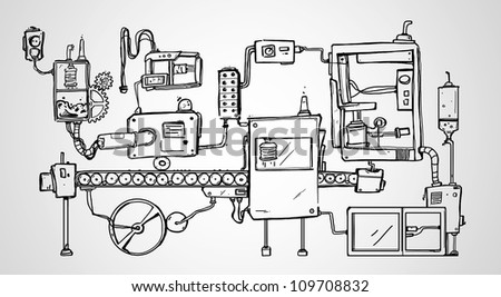 Mechanism Hand Drawn on a white background - stock photo