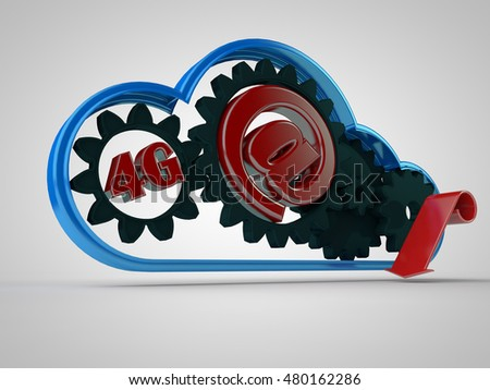 mechanism of cloud storage of information in cloud frame of rotating gears, and a red arrow on a white background, 3d rendering