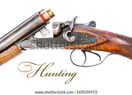 mechanism of hunting rifle close-up Isolated on white - stock photo