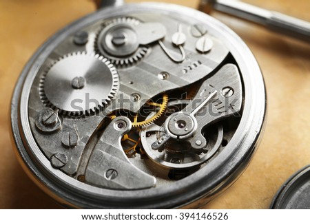 Mechanism of pocket clock closeup