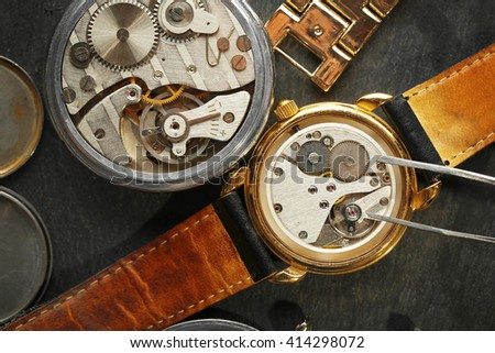 Mechanism of retro watch closeup - stock photo