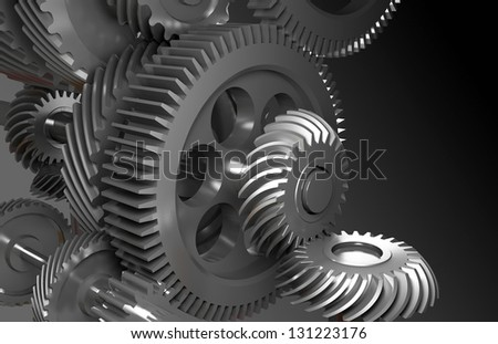 Mechanism on a gray background