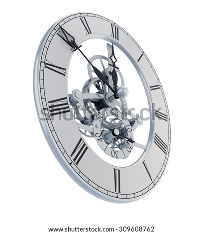 Mechanisms hours of face and hands on a white. 3d illustration. - stock photo