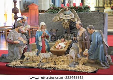 MECHELEN, BELGIUM-DECEMBER 29, 2013: Christmas manger scene in Onze-Lieve-Vrouw-over-de-Dijlekerk. History of the church starts in 1236 - stock photo