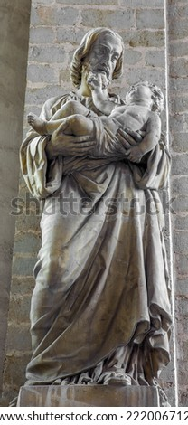 MECHELEN, BELGIUM - JUNE 14, 2014: The statue of st. Jodeph in church Our Lady across de Dyle.