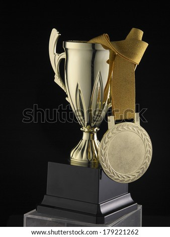 medal and trophy symbol of winning  - stock photo