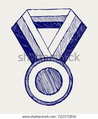 Medal award. Doodle style. Raster version - stock photo