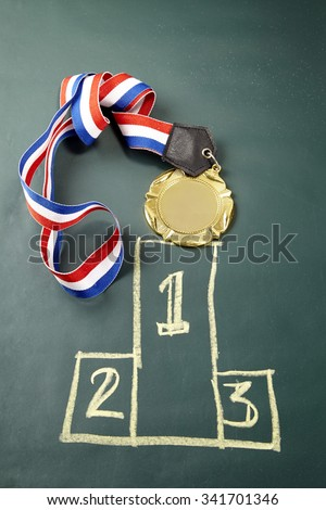 medal on the blackboard with podium drawing - stock photo