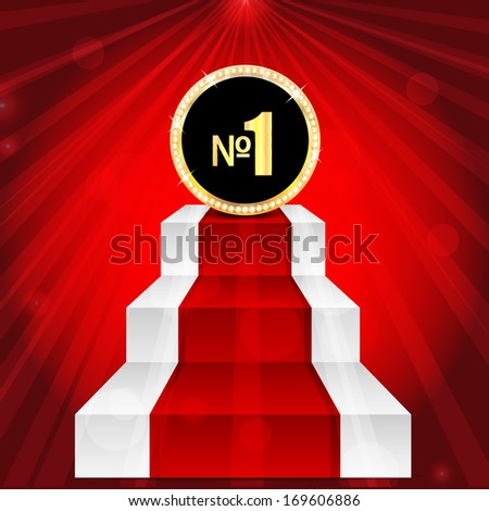 medal with number one .award in gold with brilliant stones.mark with the number one on the top of the stairs.raster - stock photo