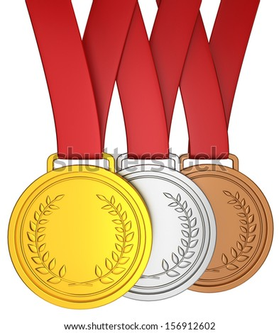Medal with red ribbon. 3d illustration on white background