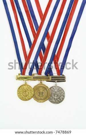 medals from various scholastic awards - stock photo