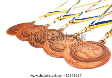 Medals isolated on white background. - stock photo